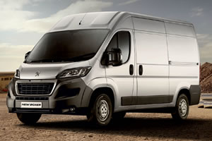 Peugeot Boxer Professional 335 L2 H2 130 BHP Euro 6 Panel Van in White with Air Con, Bluetooth, Full Steel Bulkhead, DAB, Sat Nav, Cruise Control, Rear Parking Aid and Alarm